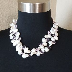 Pearl Bead Double Strand Silver Necklace